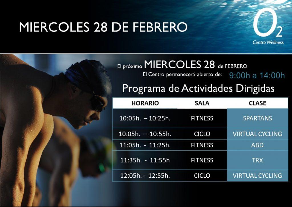 Horarios de las Actividades Dirigidas en O2CW El Perchel, 28 de Febrero.